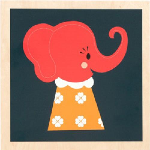 Ferm Living-prent op houten paneel-elle elephant-2349