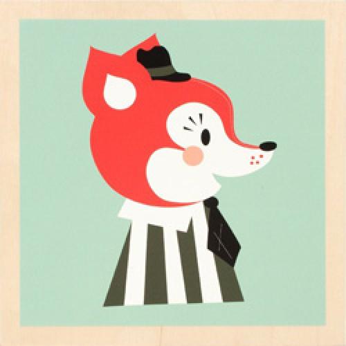 Ferm Living-prent op houten paneel-mr frank fox-2350
