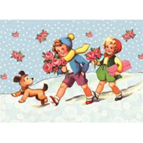 Froy en Dind-postkaart kers op de kaart-in de sneeuw-2493