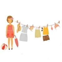 muursticker summer dress up doll