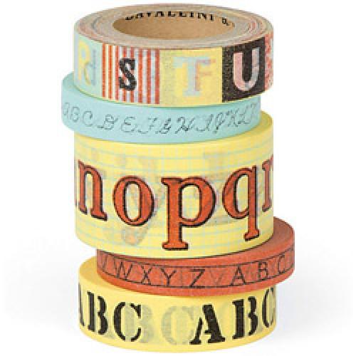Cavallini-blik met 5 rolletjes washi tape-alfabet-3612