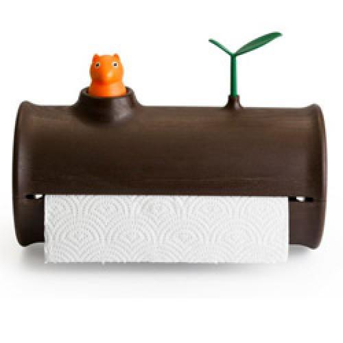 Qualy-originele keukenrolhouder-log en roll bruin-3774