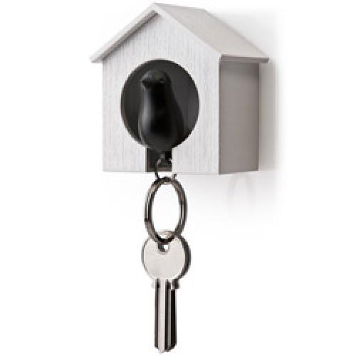 Qualy-vogelhuisje sleutelhanger-wit zwart-3975
