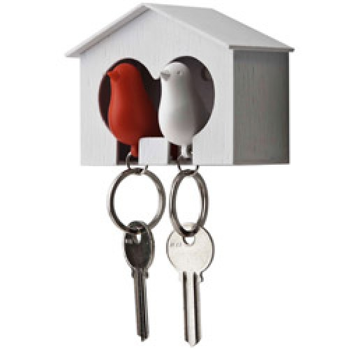 Qualy-duo vogelhuisje sleutelhanger-rood wit-3980