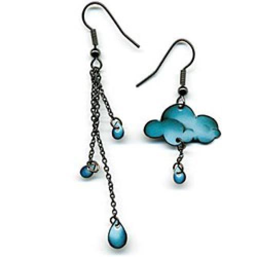 La Marelle Editions-UITVERKOCHT oorbellen il pleut il mouille-nuage-4715