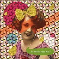 retro pop postkaart met glitters