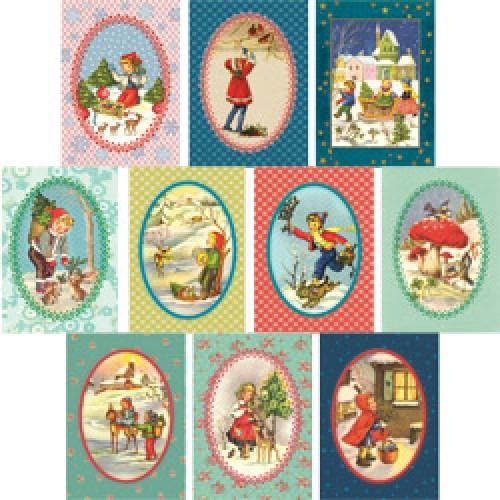 Kers op de kaart-set van 10 kerstkaarten-set van 10 kerst-5136
