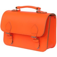 fluo oranje lederen handtas of kleutertas