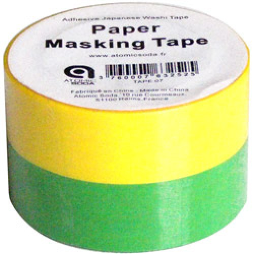 Atomic Soda-setje japanse washi tapes-fluo groen geel-5288