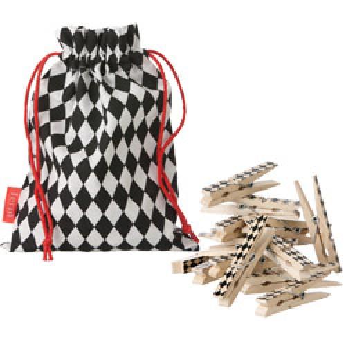 Ferm Living-UITVERKOCHT set originele houten wasknijpers-harlequin black-5343