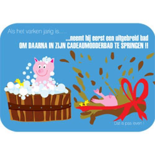 Mum Moves Cards-kleurrijke postkaart mum loves cards-verjaardag varken-5443