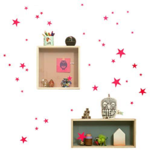 Ferm Living-muursticker mini sterren-sterren fluo roze-5483