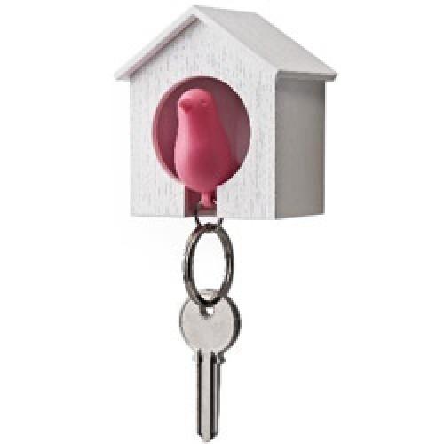 Qualy-vogelhuisje sleutelhanger-wit roze-5797