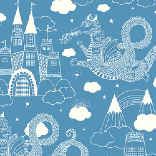 Majvillan-origineel zweeds behangpapier-drakenkasteel blauw 103-01-5802