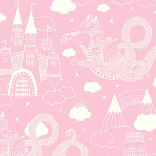 Majvillan-origineel zweeds behangpapier-drakenkasteel roze 103-03-5804