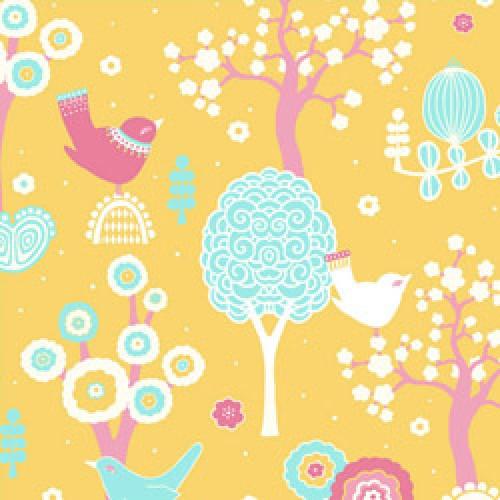 Majvillan-origineel zweeds behangpapier-cherry blossom geel 102-01-5807