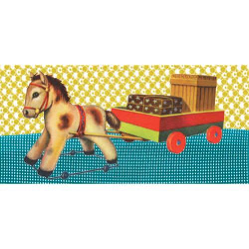 Froy en Dind-postkaart US formaat kers op de kaart-paardje-5964