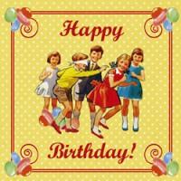 dubbele verjaardagskaart vintage party