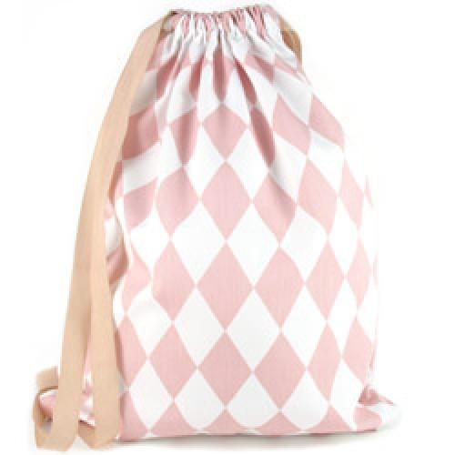 Nobodinoz-mooi klein rugzakje in katoen-diamant roze-6132