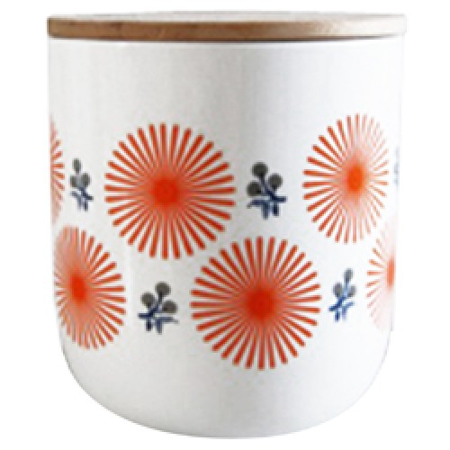 Mr and Mrs Clynk-UITVERKOCHT voorraadpot in porselein medium-fleur orange-6470