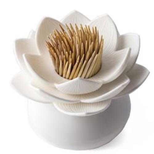 Qualy-originele tandenstoker houder-lotus wit-6547