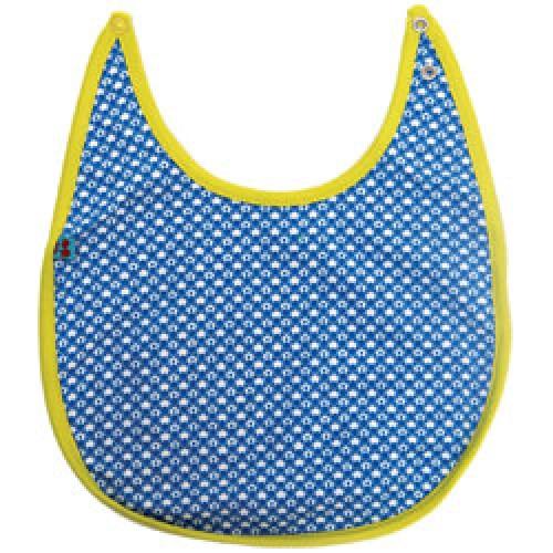 Froy en Dind-prachtig slabbetje in biokatoen-R4 cirkels blauw-6991