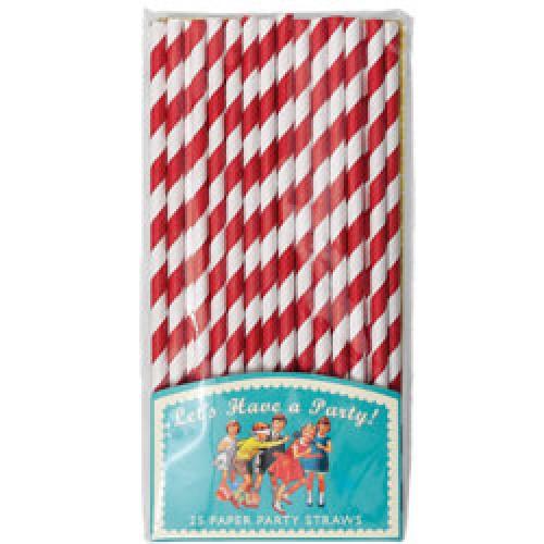 Rex-set van 25 papieren rietjes-rood wit-7157