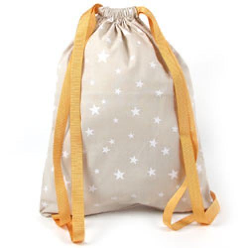 Nobodinoz-mooi klein rugzakje in katoen-zand met witte sterren-7338