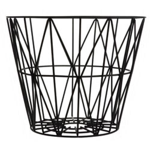 Ferm Living-ronde metalen opbergmand medium-zwart medium-7567