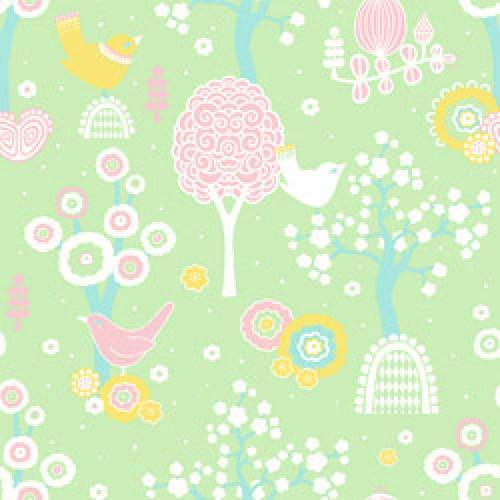 Majvillan-origineel zweeds behangpapier-cherry blossom groen 102-03-7777