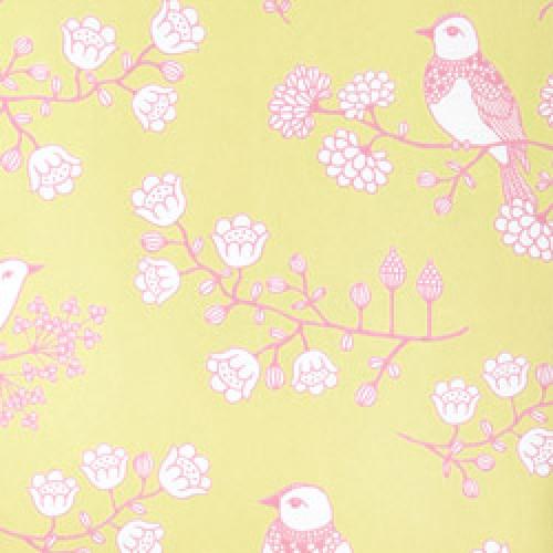 Majvillan-origineel zweeds behangpapier-sugar tree geelgroen roze-7782
