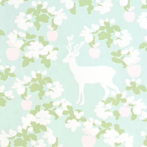 Majvillan-origineel zweeds behangpapier-apple garden turquoise groen roze-7785