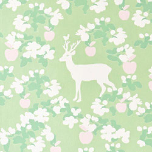 Majvillan-origineel zweeds behangpapier-apple garden groen roze-7786