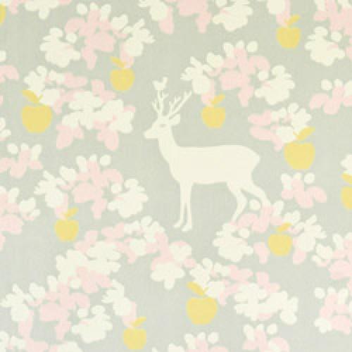 Majvillan-origineel zweeds behangpapier-apple garden grijs roze geel-7787