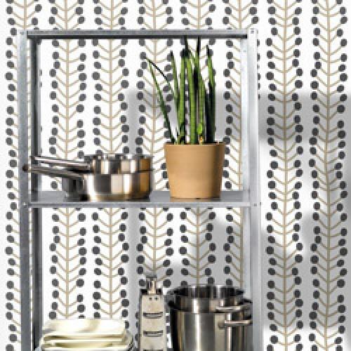 Lavmi-stijlvol retro behangpapier easy-herbs beige zwart-7805