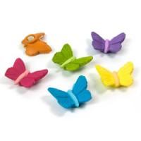 set van 6 kleurrijke vlindermagneten