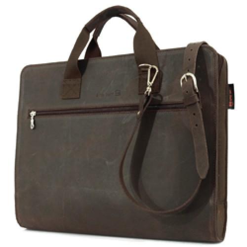 bruine lederen laptop tas 15 inch-bruin-8411