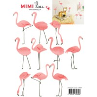 mini muursticker flamingos