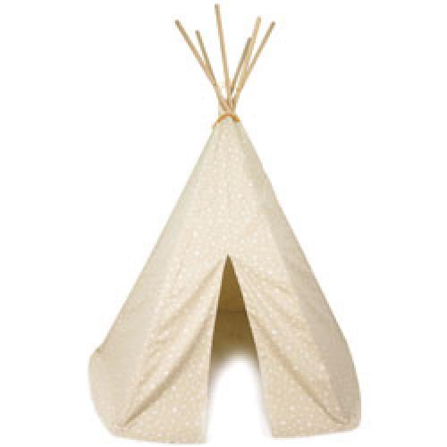 Nobodinoz-superleuke Tipi tent-zand met witte sterren-8496