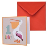 dubbele verjaardagskaart pelikaan