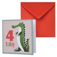 dubbele verjaardagskaart krokodil
