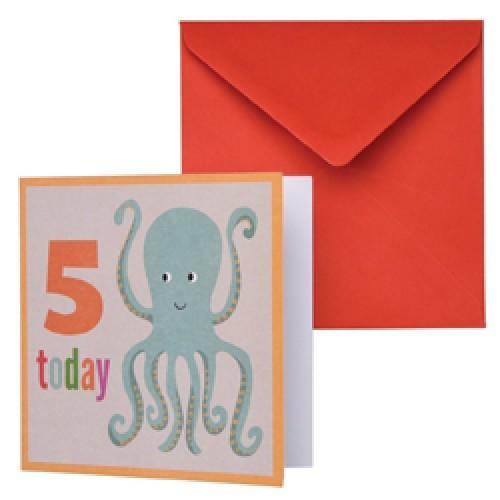 Rex-dubbele verjaardagskaart inktvis-inktvis 5-8891