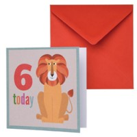 dubbele verjaardagskaart leeuw