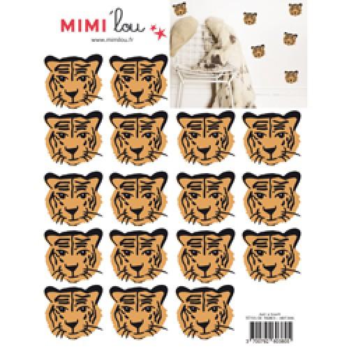 Mim'ilou-mini muursticker tijgers-têtes de tigres-9116