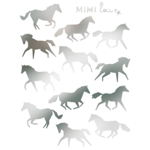 Mim'ilou-mini muursticker paardjes-chevaux-9119