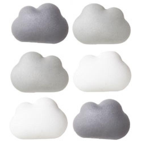 Qualy-set van 6 leuke wolk magneten-cloud grijs-9257