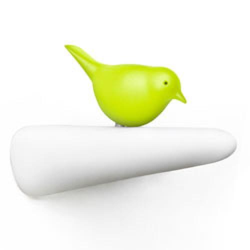 Qualy-speels vogel kapstokhaakje-wit groen-9259