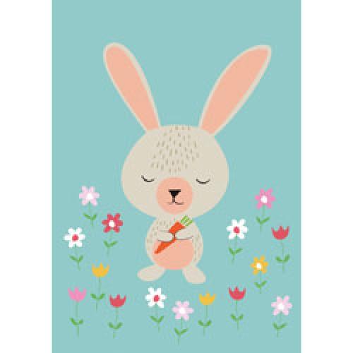 Rex-grote dubbele wenskaart konijn-daisy rabbit-9407