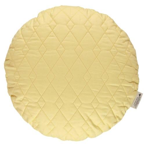 Nobodinoz-rond gequilt kussen sitges diam 45 cm-sunny yellow-9535