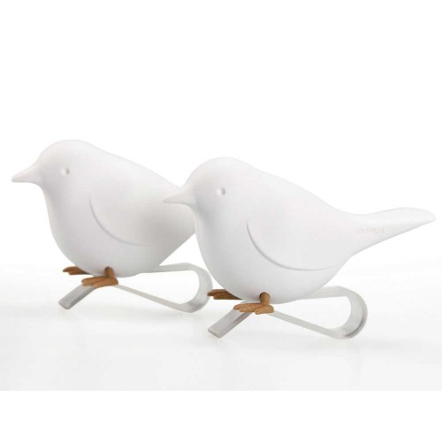 Qualy-set van 2 originele servethouders sparrow-wit-9578